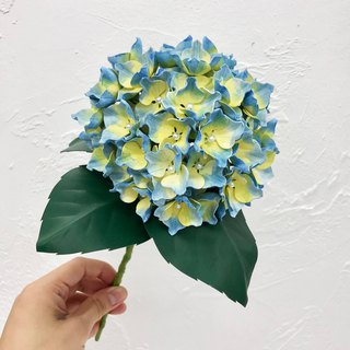 Hand-dyed Yellow & Blue Leather Hydrangea