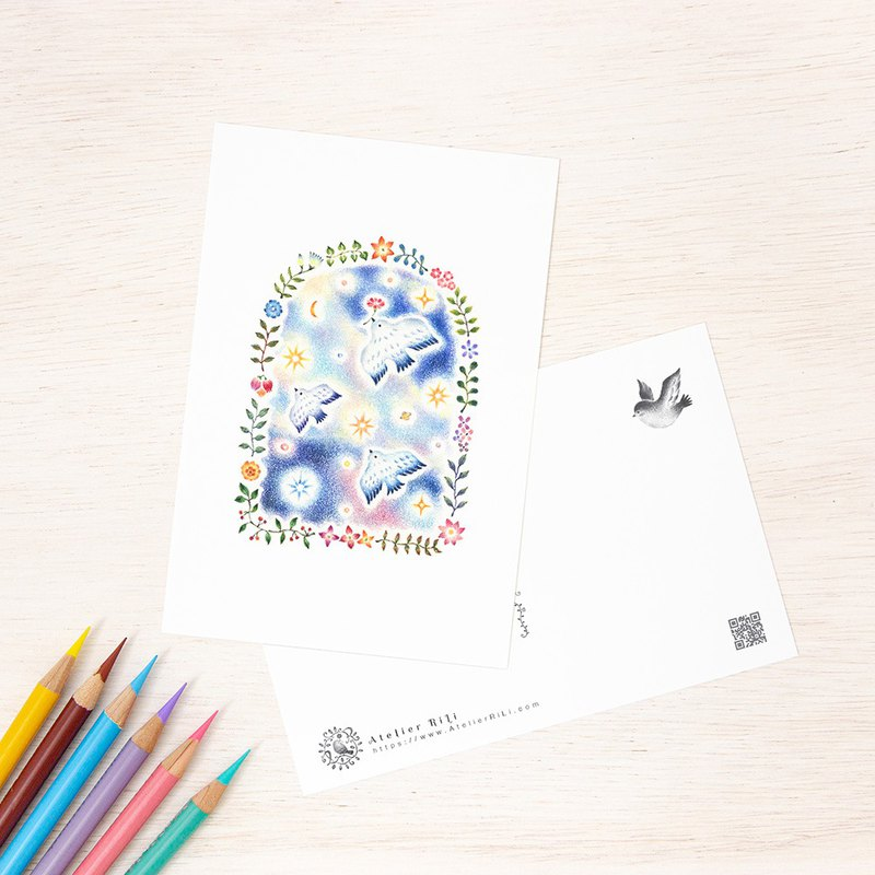 "Set of 5 sheets. Like a picture book. Postcard ""Migratory birds and small flowers"" PC-258"