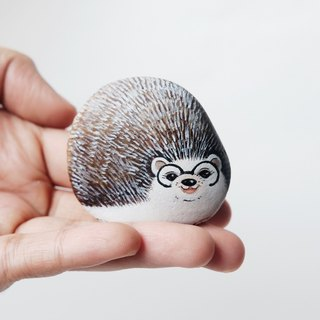 Hedgehog stone painting,original art.
