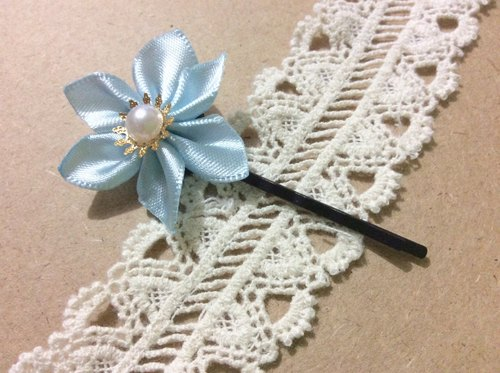 Kanzashi blue ribbon flower hair pin hair accessories