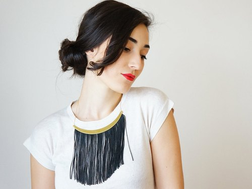 Black Fringe Necklace Statement Necklace Arc Necklace Black Necklace Gold Necklace Fringe Jewelry For Her Gift/ CHEORA