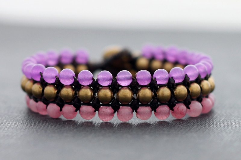Rose Quartz Love Bracelets Wristband Beaded Woven Pink Cute