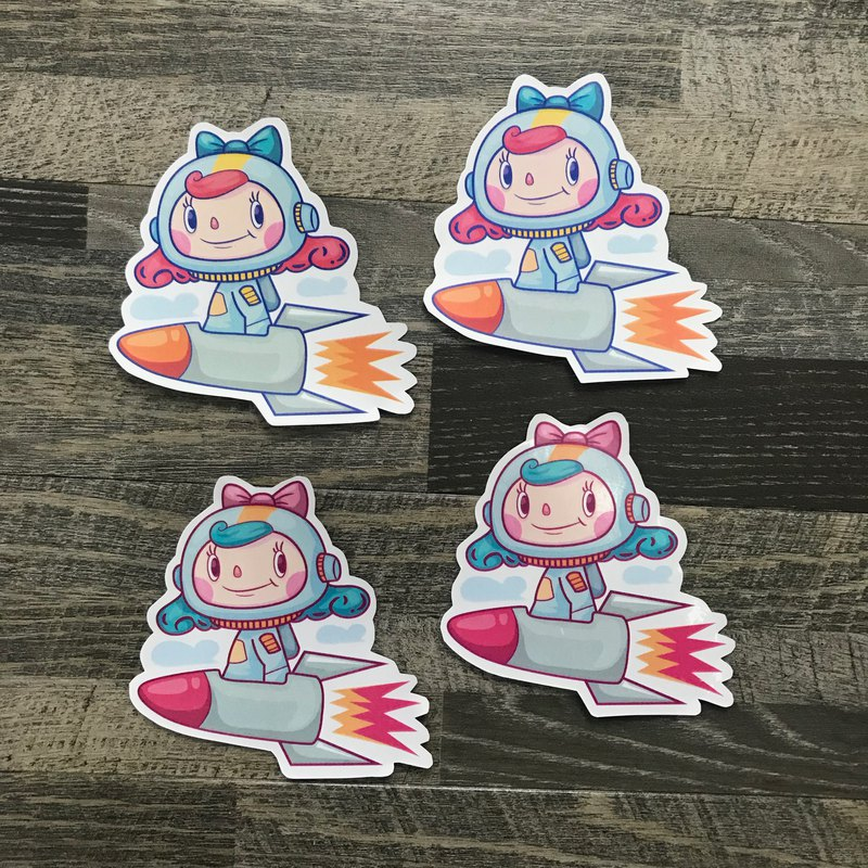 Message sticker. Rocket (1 set 2 in)