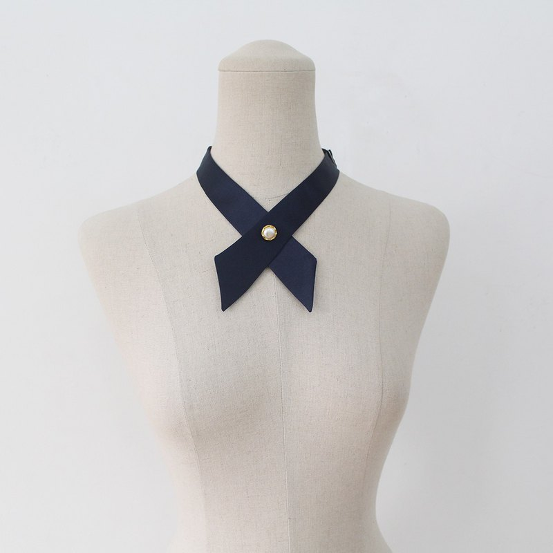 Navy crosstie,necktie,Navy neck tie for woman,wedding,Black crosstie