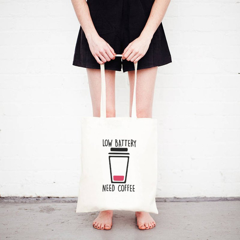 LOW BATTERY NEED COFFEE tote bag