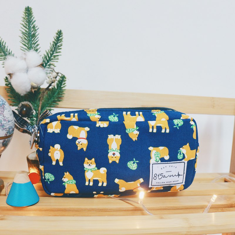 Dark blue Shiba Inu pen / cosmetic bag | 815a.m