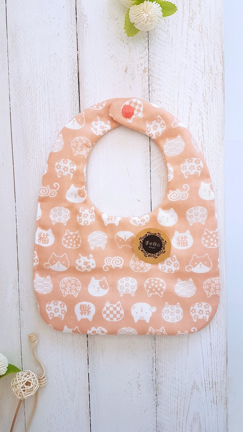 (Orange cat) Eight yarn 100%cotton double-sided bib saliva towel