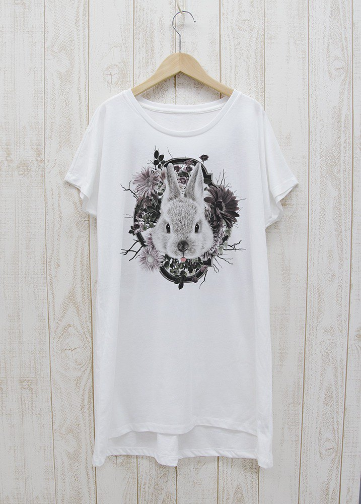 ronron RABIT One-piece dress Tee Flower Frame white / R033-O-WH