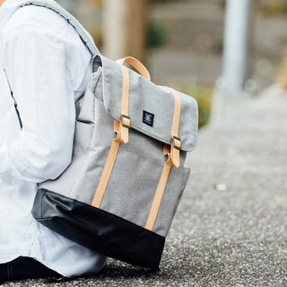 Gift/Design Urban Backpack with Leather Trim - Light Grey
