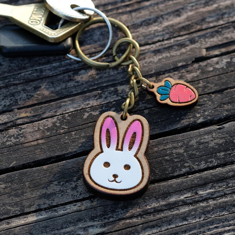 Painted Wooden key ring - Rabbit