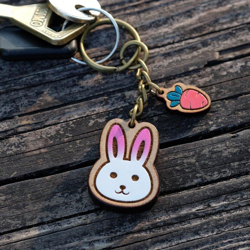 彩繪木製鑰匙圈-小兔子