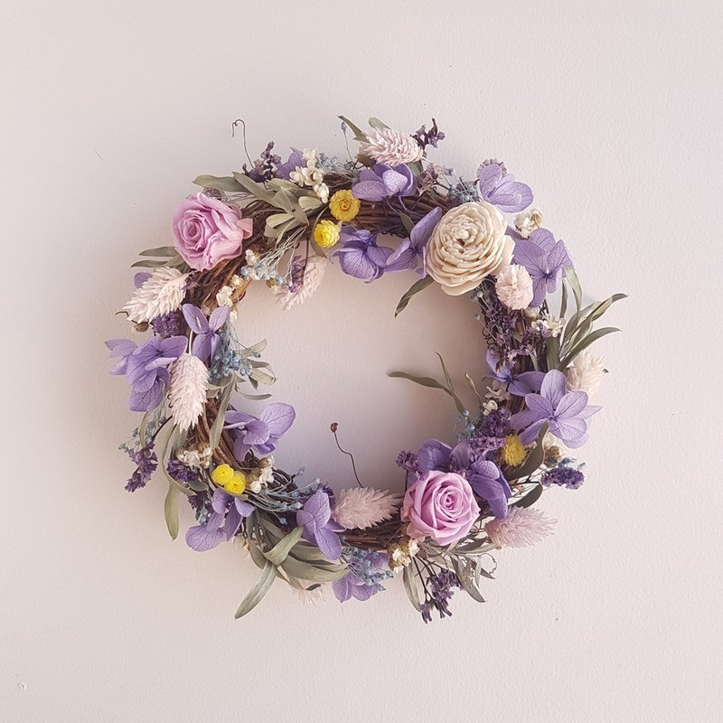 Pick flowers - hand made eternal flower purple rose dry flower small wreath spot