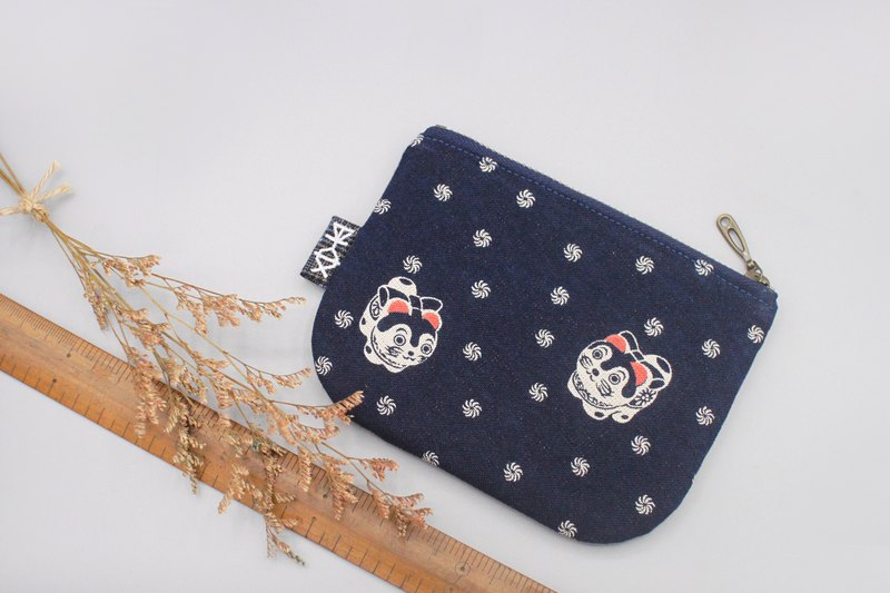Out of print - Ping An Xiaole bag - Japanese Fu dog (pair), ancient cloth texture, small wallet