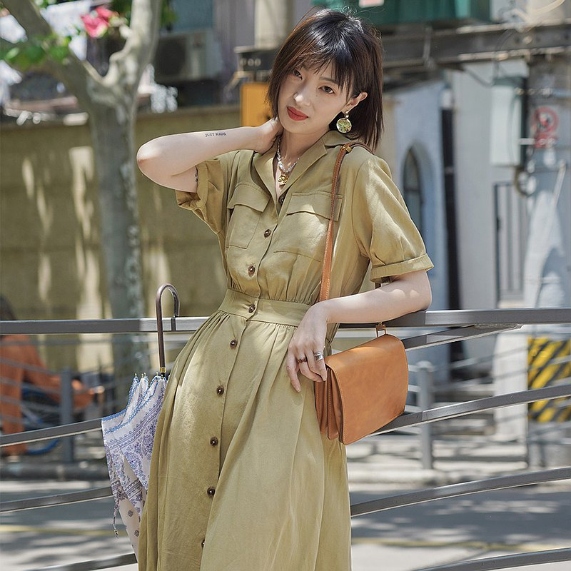 法式復古優雅洋裝-黃色 連衣裙 洋裝 夏款 天絲亞麻混紡 Sora-509