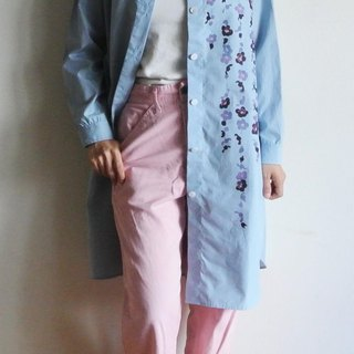 Long shirt gingham check light blue color <枝 び 梅>