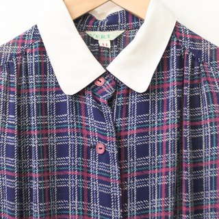 Japanese classic stitching collar retro blue purple checkered plaid cropped sleeve vintage dress Japanese Vintage Dress