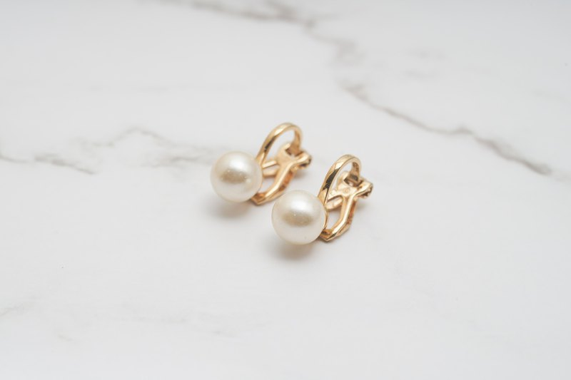 [Antique Jewelry/Western Old] VINTAGE American Napier Mini Pearl Vintage Clip Earrings