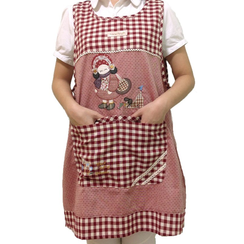[BEAR BOY] wearing a hat girl 4 pocket apron - red (back tied)