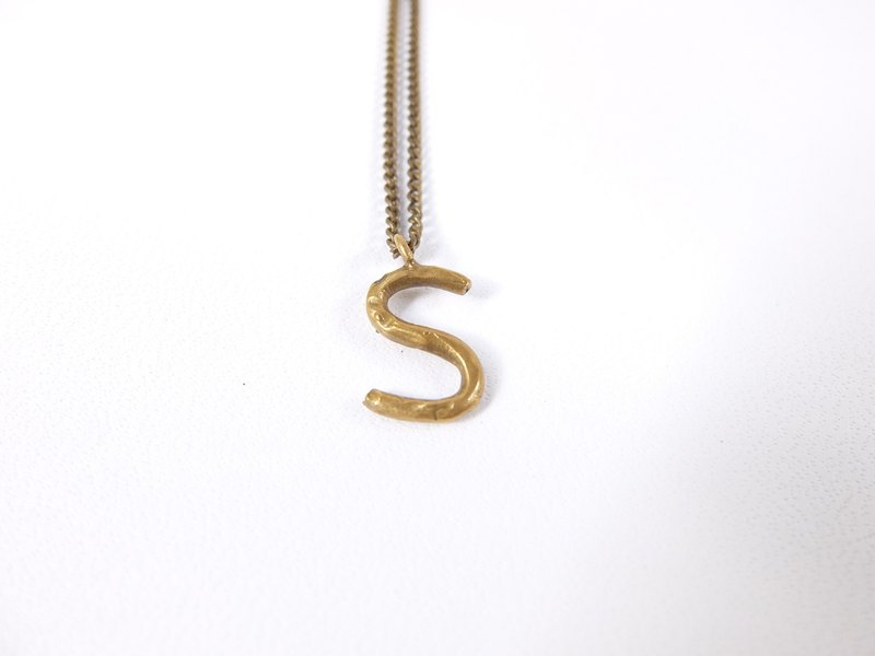 English alphabet brass necklace