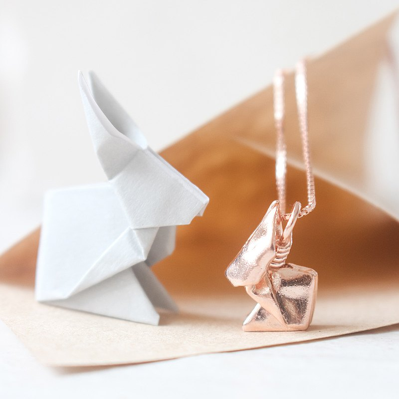18K Rose Gold Plated Origami Rabbit Silver Necklace