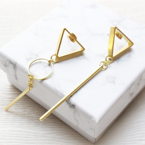 geometry. Triangle Geometry Brass Long Earrings Stud Earrings in Sterling Silver