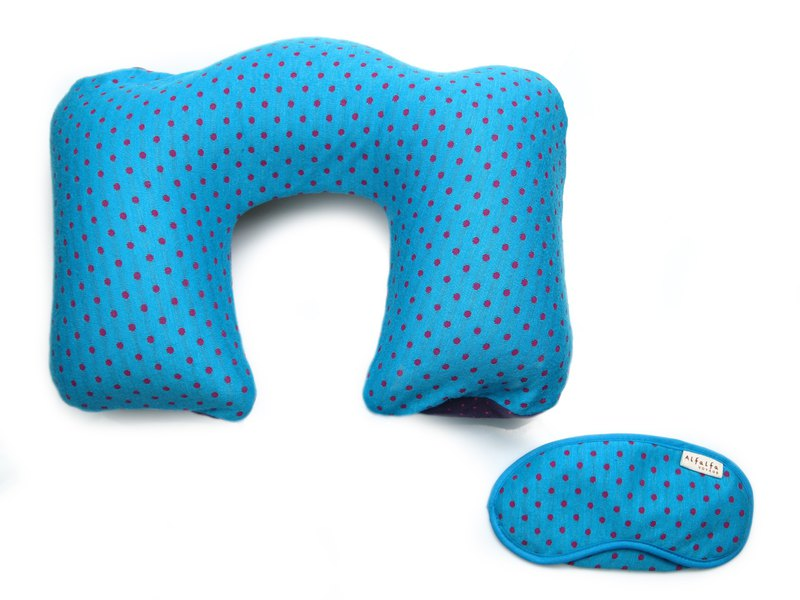 Mizutama Air Inflatable Neck Pillow + Eyemask set - Adult - Sky blue