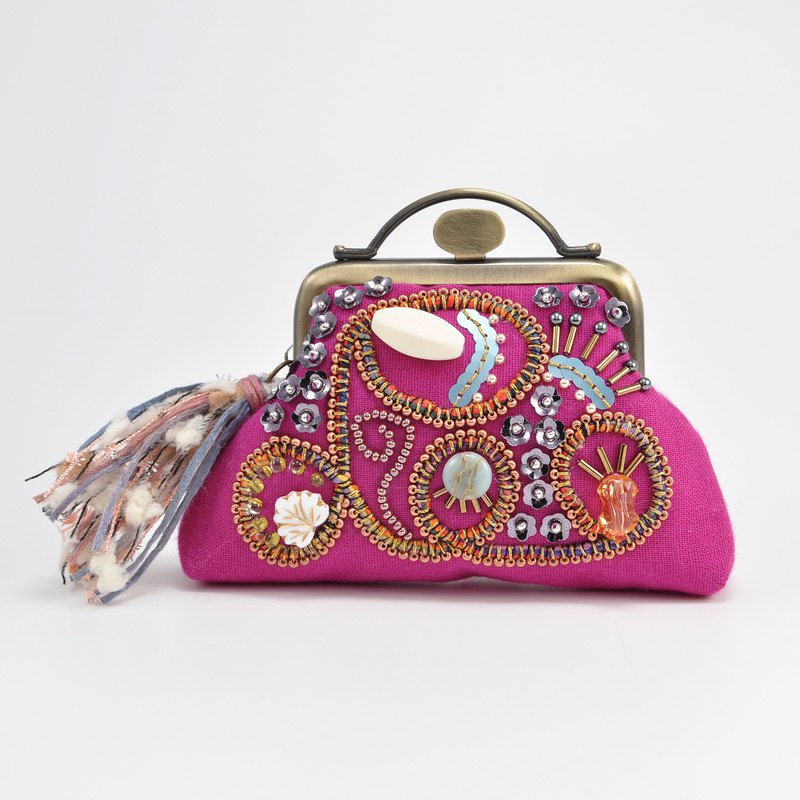Sparkle and statement purse, pink purse,embroidered purse, 1