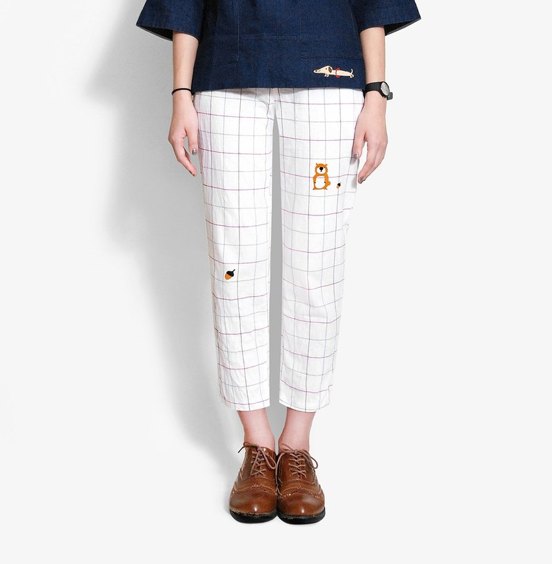 Free transport] [limited time pineal trifle / Composition thin plaid cotton pants