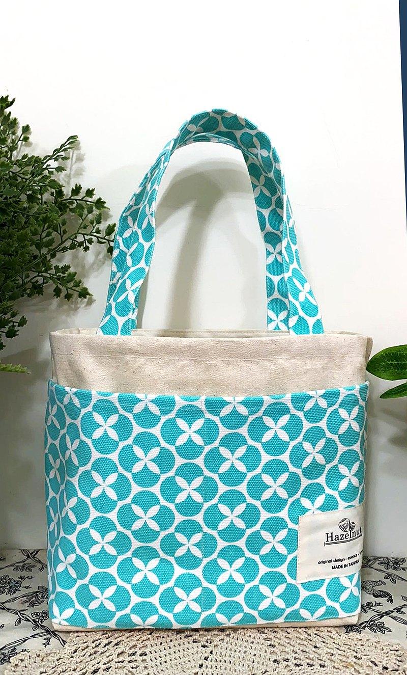 北歐風格湖水綠花幾何圖案色包包/手提/托特包/小挽袋