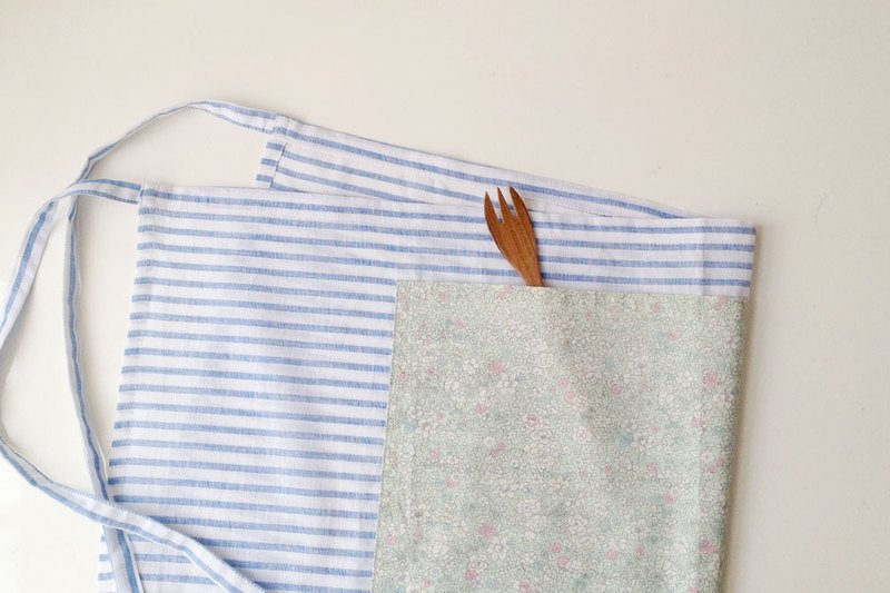 Blue Stripe Floral Linen Pocket Apron