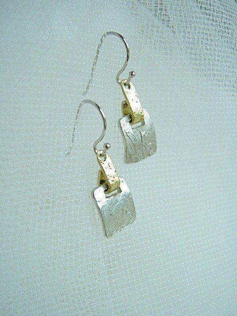 Tin earrings - Square 1 cm
