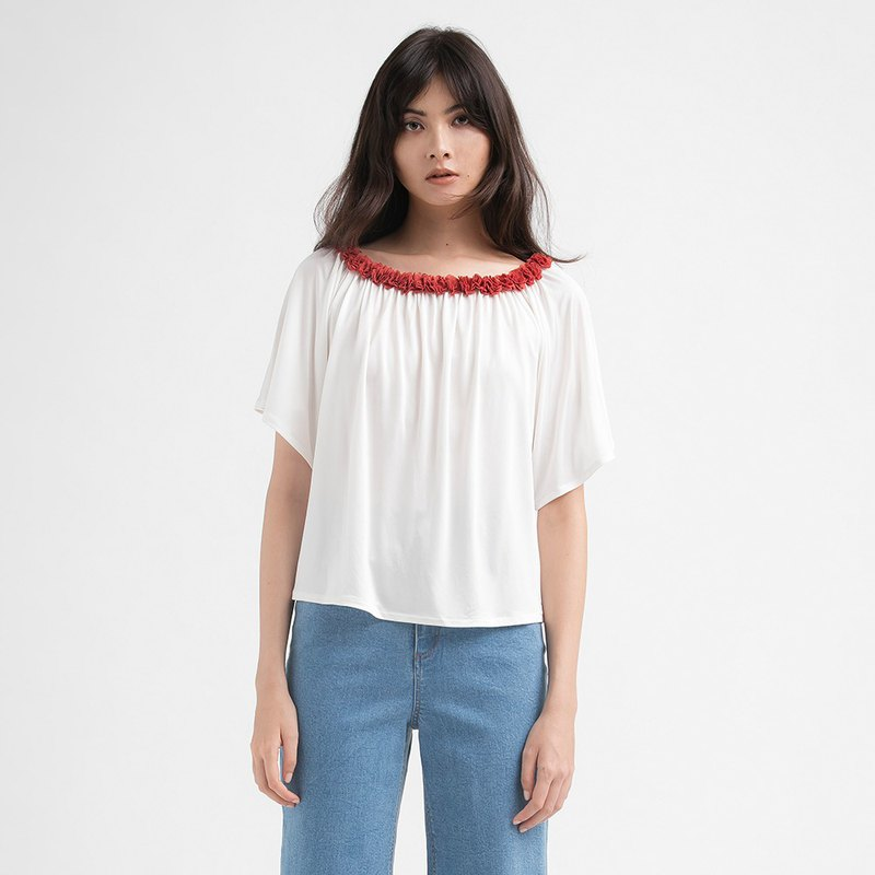 VACAE Two-Color Scratch Collar T-Shirt