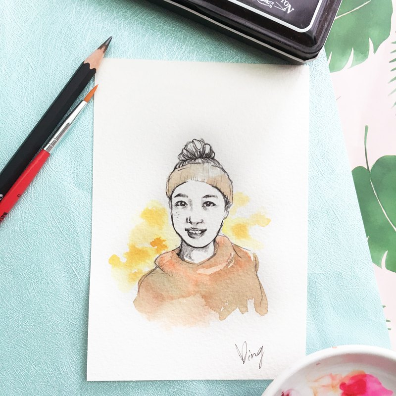 Custom portrait painting | like face painting | portrait - pencil character watercolor background style
