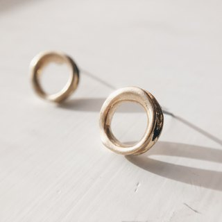 Distressed thick small circle - old gold ear earrings (pair) [can be changed ear clip]