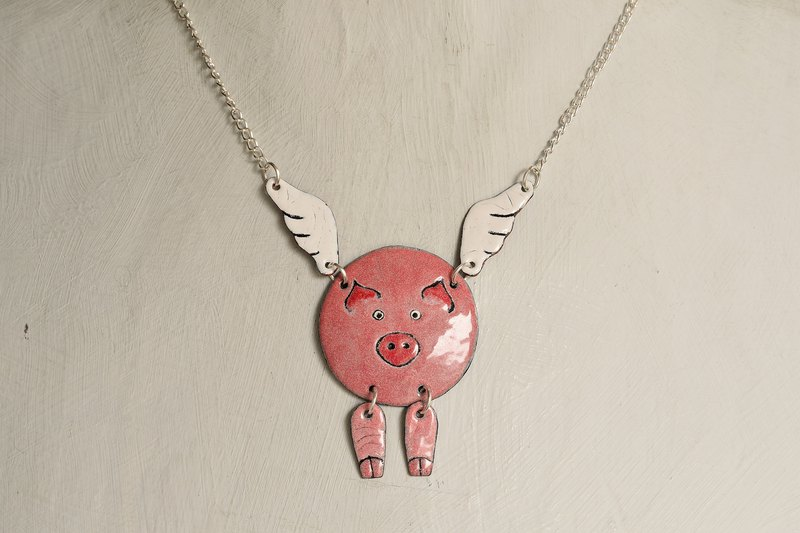 Pig Necklace, Enamel Pig Necklace, Pig With Wings, Flying Pig Necklace, Piggy,