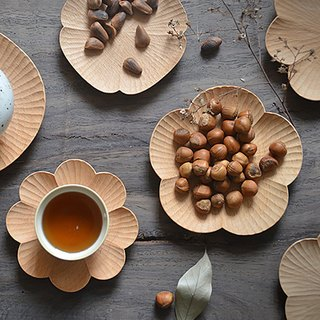 Mountain House senser | Original Handmade Wooden Flower Disc Snack Plate Wooden Creative Coaster Japanese Style Plate, Tea Tray - Small