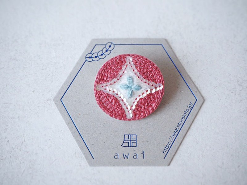 [Embroidery] Cloisonne Brooch Orange