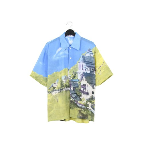 Back to Green:: Silk shirt exotic scenery //vintage shirt//