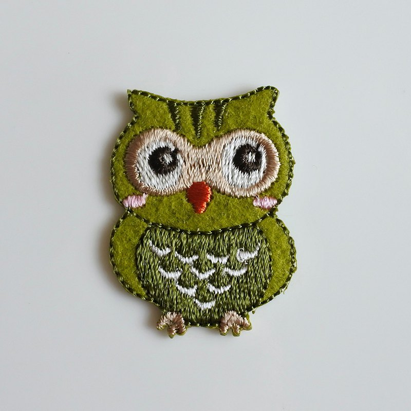 Three Cat Shop - Cute Owl Electric Embroidery - I (to be ironed)