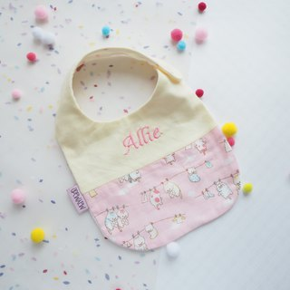 Handmade Name Embroidery Bib - Blue Cat Style