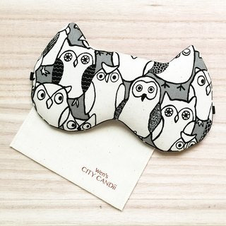 Owl Doodle Sleep Mask - Black (Adjustable Elastic Band)