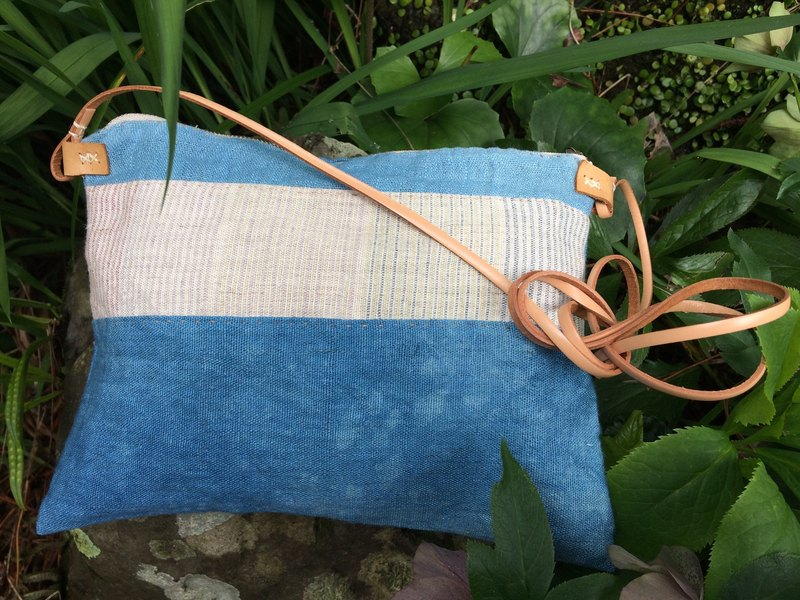 Hand-woven hemp shoulder bag indigo