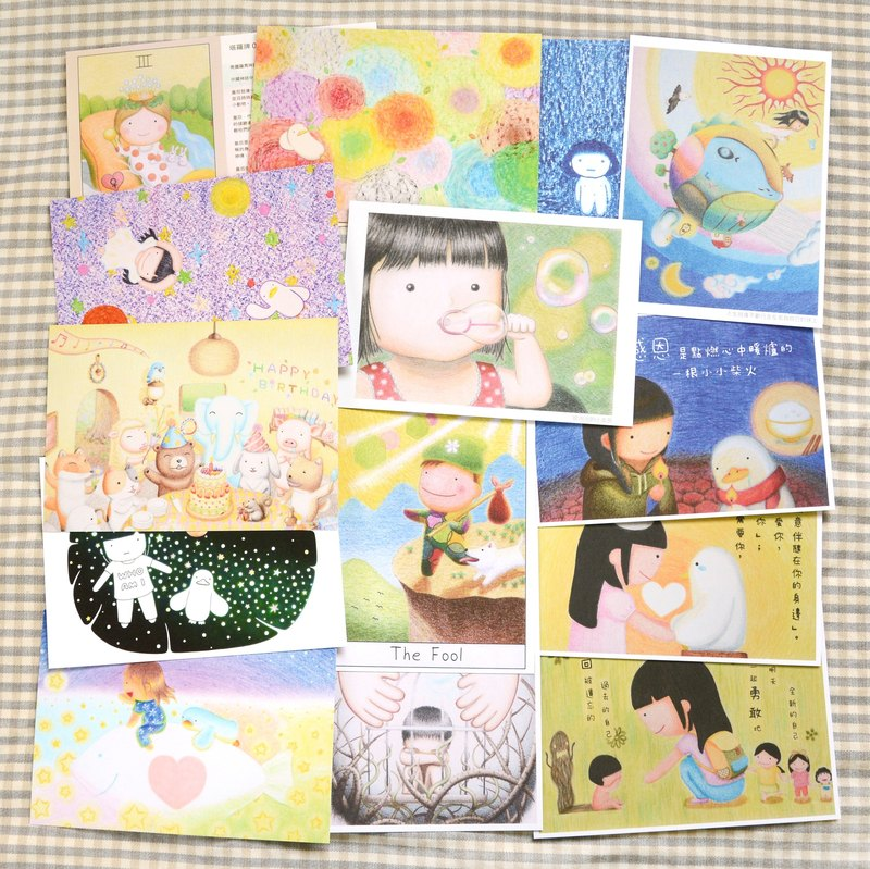 All of the 17 Flatgoose illustration postcards