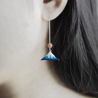 Mount Fuji (enamel, 925 sterling silver earrings) - C percent handmade jewelry