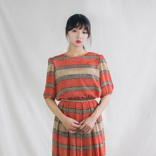 Orange ancient dot zebra texture five-point sleeves vintage dress
