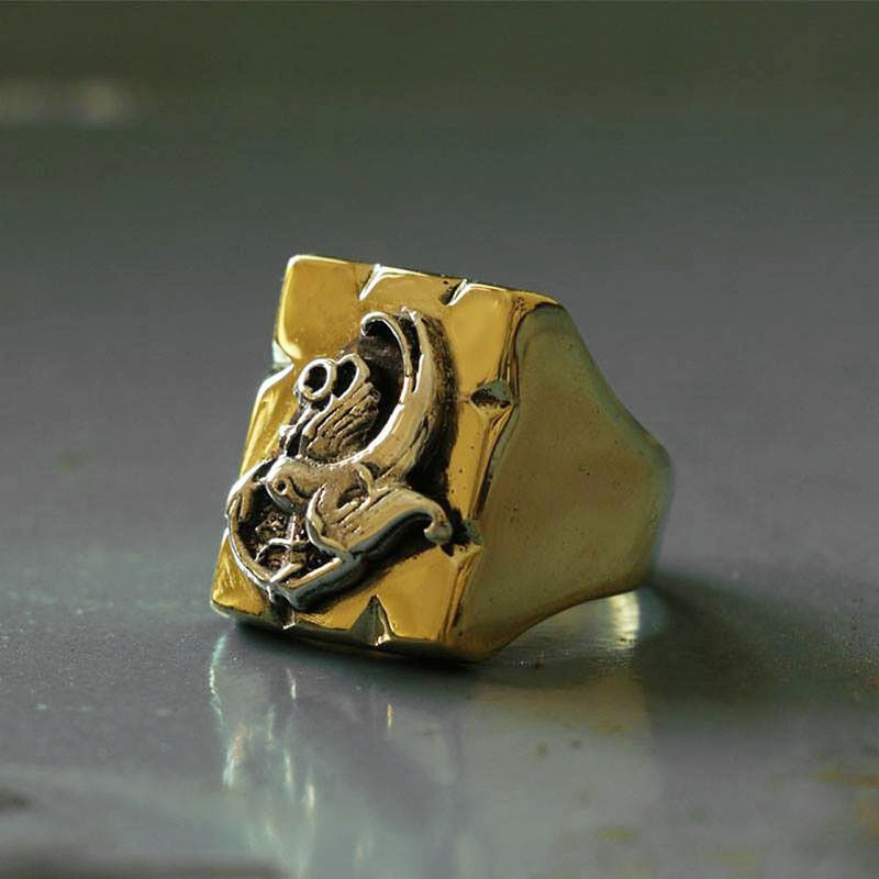 Mexican Biker Ring Skull silver Old school tattoo martin bird swallow anchor