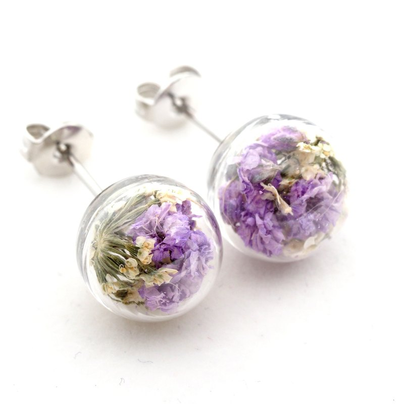 OMYWAY Handmade Dried Flower - Glass Globe - Earrings 1cm