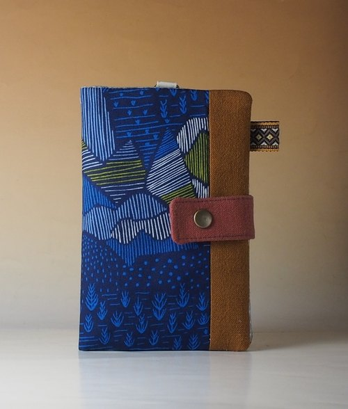 Multifunctional passport holder / length fabric sandwiched*Landscape - organic cotton*