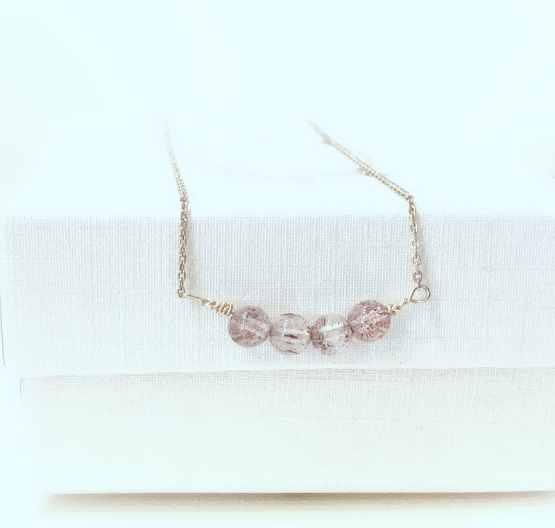 Love comes strawberry crystal necklace