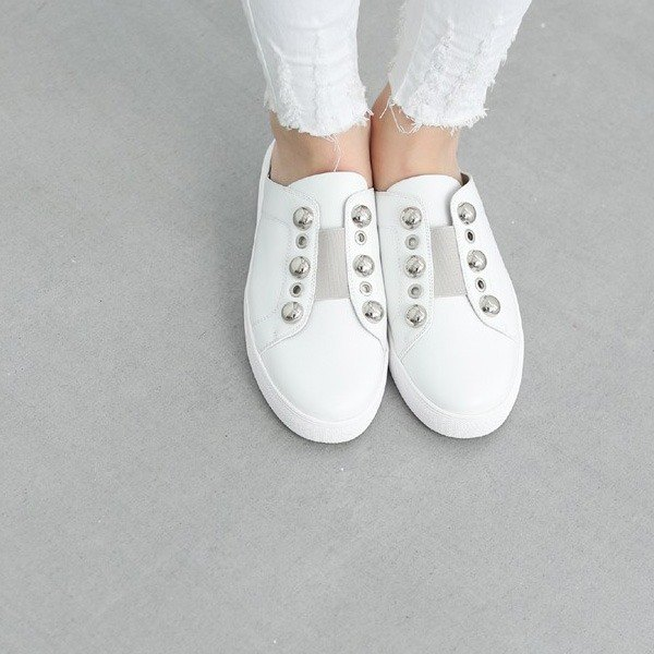 Change round nail decoration will be slippers casual shoes white